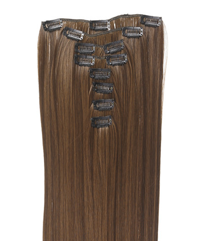 Clip-on hår 50cm i fint syntetfiber #6/10