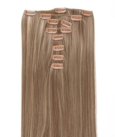 Clip-on hår 50cm i fint syntetfiber #16/18