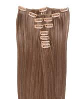 Clip-on hår 50cm i fint syntetfiber #18/8