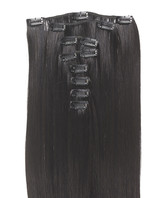 Clip-on hår 50cm i fint syntetfiber #2/1B